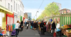 Der Whitechapelmarket wird durch verschiedene Maßnahmen gestärkt, um ihn mit Supermärkten und Einkaufszentren konkurrenzfähig zu machen. Rendering/Quelle: East/Design for London/Tower Hamlets